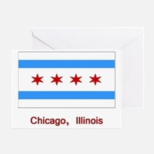 Chicago IL Flag Greeting Card