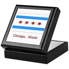 Chicago IL Flag Keepsake Box