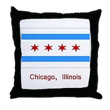 Chicago IL Flag Throw Pillow