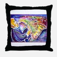 Music! Fun, colorful, sax! Throw Pillow