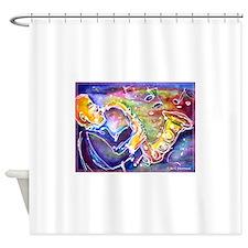 Music! Fun, colorful, sax! Shower Curtain
