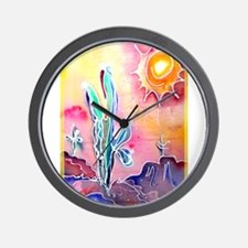 Desert, bright, southwest art! Wall Clock