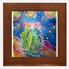 cactus at night! soutwest art! Framed Tile