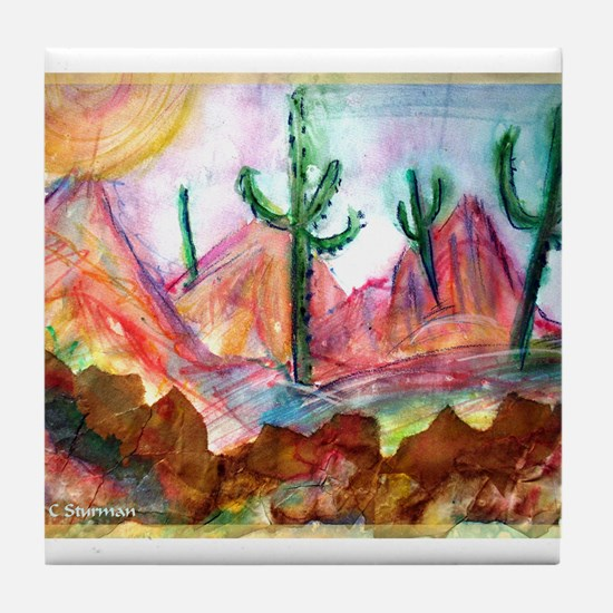Desert! Southwest art! Tile Coaster