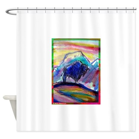Buffalo Colorful Art Shower Curtain By Meowries