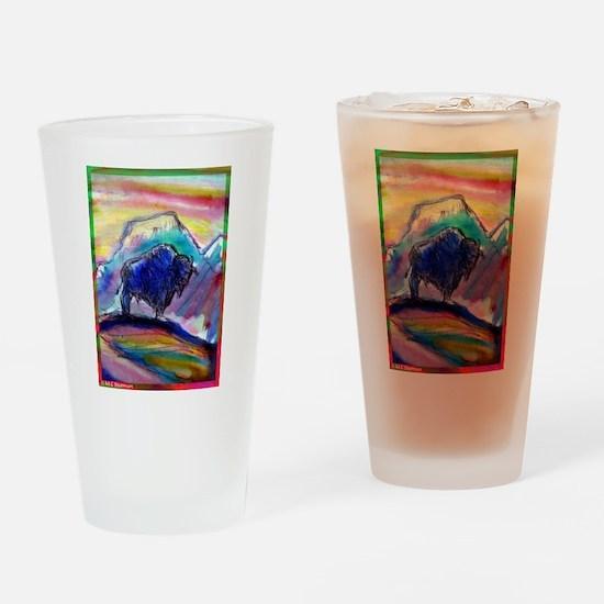 Buffalo, colorful, art! Drinking Glass