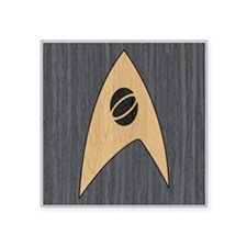 "STARTREK TOS SCI WOOD 1 Square Sticker 3"" x 3"""