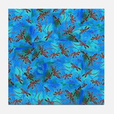Dragonfly Flit Red Splash Tile Coaster