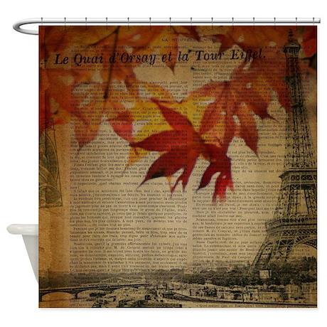 Vintage Paris Fall Leaves Shower Curtain