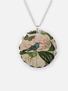 french botanical flower bird Necklace
