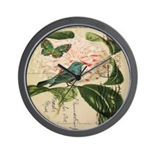 french botanical flower bird Wall Clock