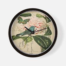 french botanical flower bird Wall Clock