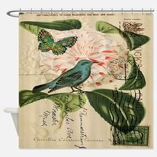 french botanical flower bird Shower Curtain
