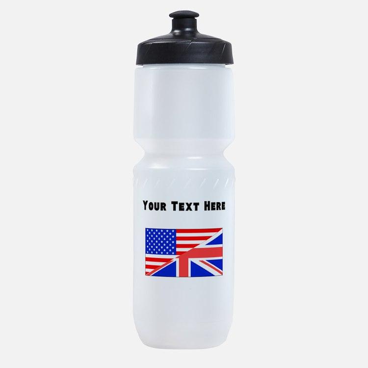 British American Flag Sports Bottle