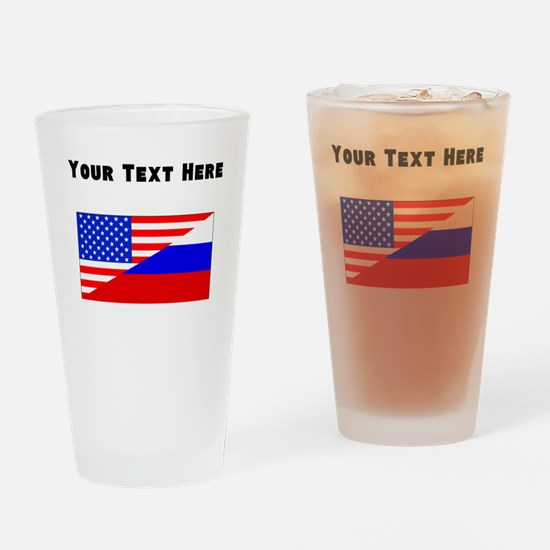 Russian American Flag Drinking Glass