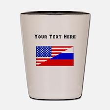 Russian American Flag Shot Glass