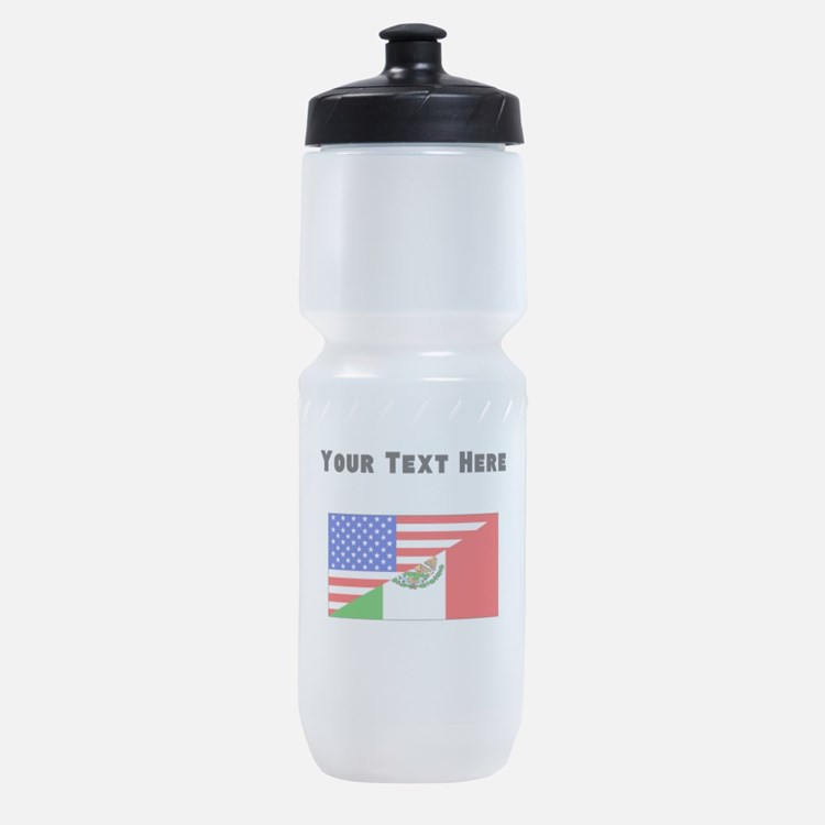 Mexican American Flag Sports Bottle