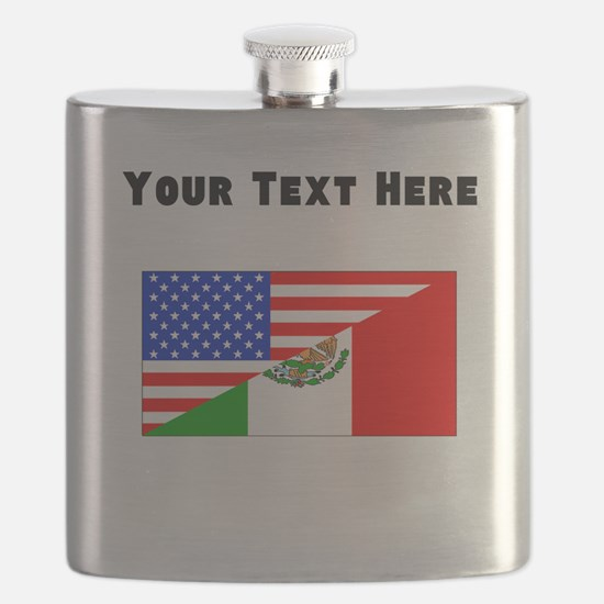 Mexican American Flag Flask