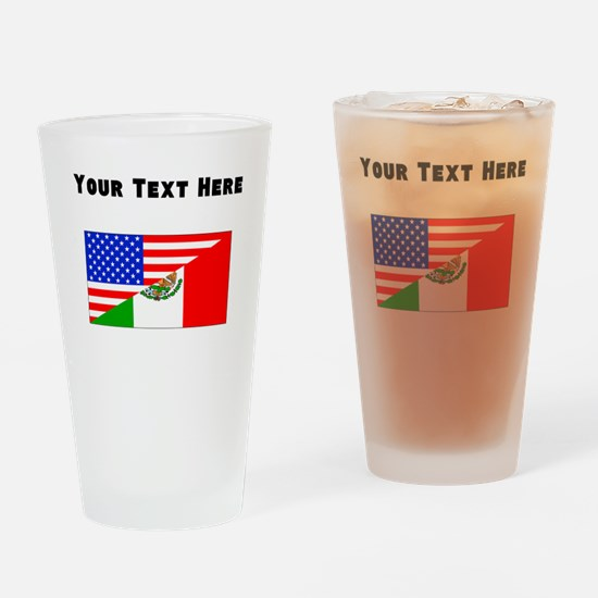 Mexican American Flag Drinking Glass