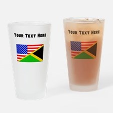 Jamaican American Flag Drinking Glass