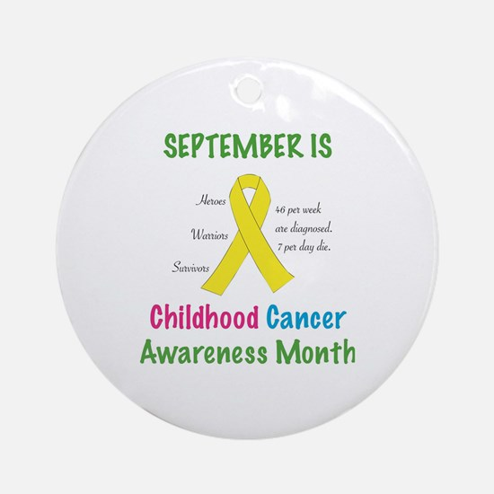 Cute Childhood cancer ribbon Round Ornament
