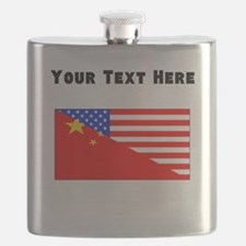 Chinese American Flag Flask