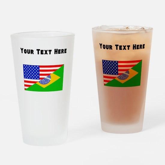 Brazilian American Flag Drinking Glass