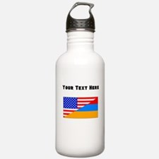 Armenian American Flag Water Bottle