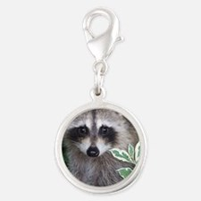 Baby Raccoon Photo Silver Round Charm