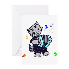 Vintage Accordion Kitten Greeting Card