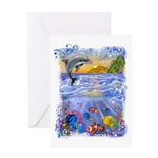 Dolphin, Ocean, Paradise, Tro Greeting Card