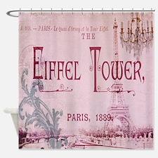 girly chandelier vintage paris  Shower Curtain