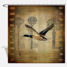 vintage rustic western duck Shower Curtain
