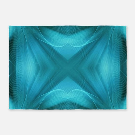 abstract teal geometric pattern 5'x7'Area Rug