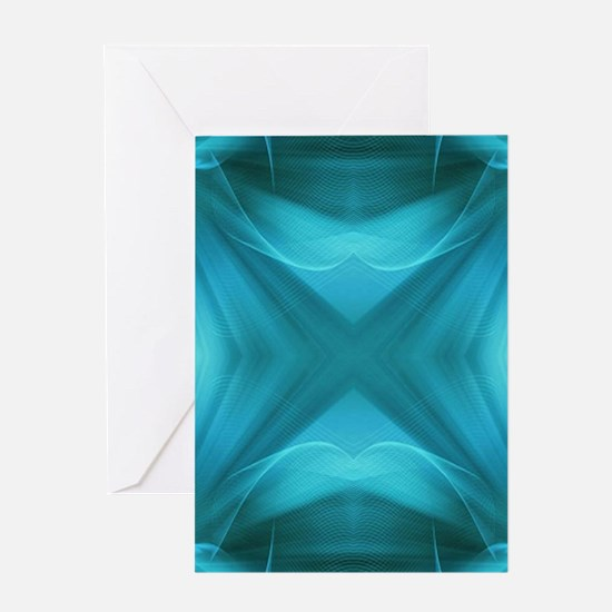 abstract teal geometric pattern Greeting Cards