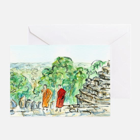 Buddhist Temple Monks Art Painting Greeting Cards