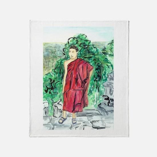 Red Robe Buddhist Monk Art Painting Throw Blanket