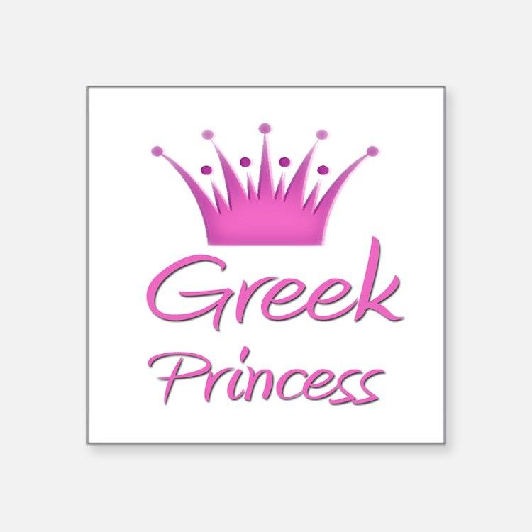 "Cute Greek princess Square Sticker 3"" x 3"""