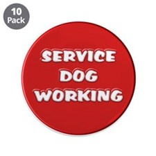 """SERVICE DOG WORKING 3.5"""" Button (10 pack)"""