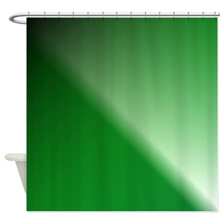 Green Black White Gradient Fabric Shower Curtain By