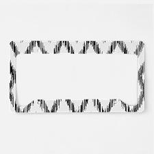Ikat Pattern Black/White License Plate Holder