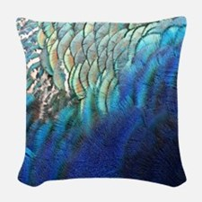 blue and green peacock feathers Woven Throw Pillow