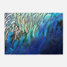 blue and green peacock feathers 5'x7'Area Rug