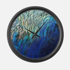 blue and green peacock feathers Large Wall Clock