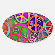 Peace and Love Sticker (Oval)