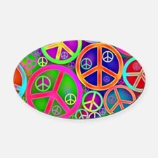 Peace and Love Oval Car Magnet