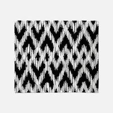 Ikat Pattern Black Throw Blanket