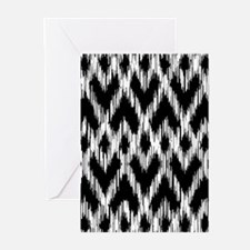 Ikat Pattern Black Greeting Cards (Pk of 10)