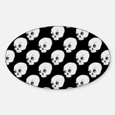 Skull Pattern On Black Background Decal
