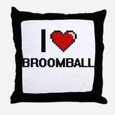 I Love Broomball Digital Design Throw Pillow